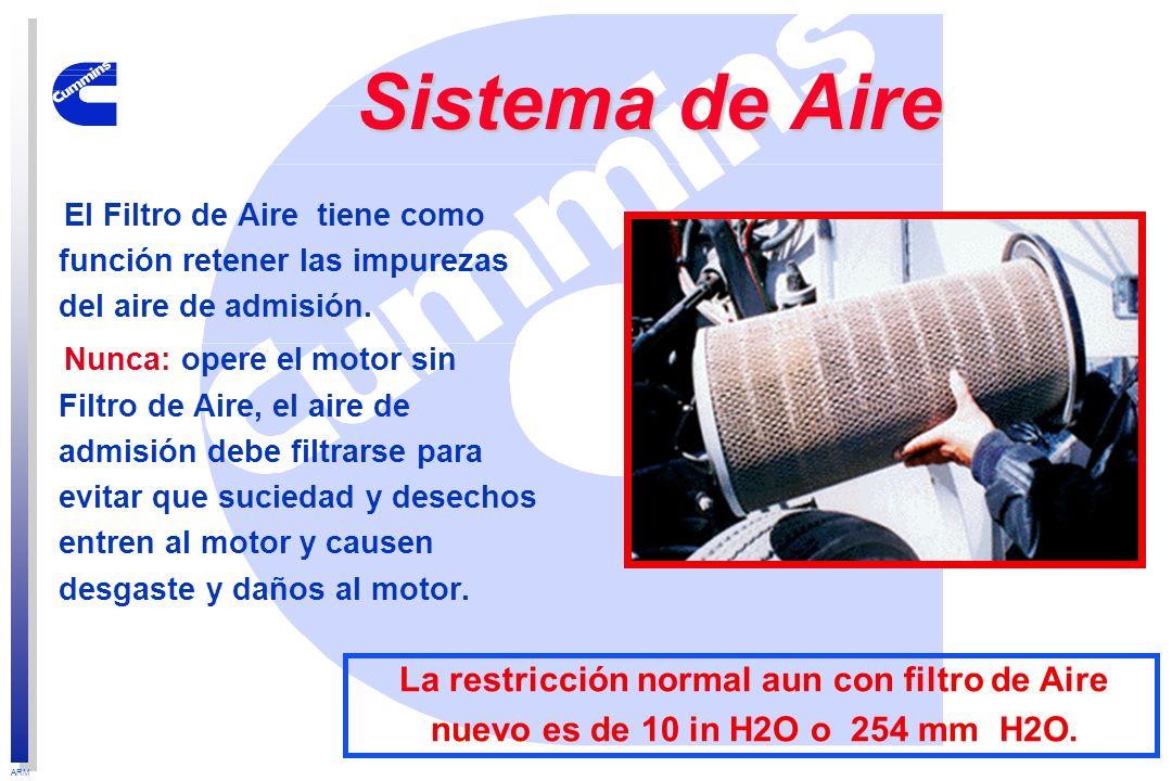 ARM El Filtro de Aire tiene como función retener las impurezas del aire de admisión. Nunca: opere el motor sin Filtro de Aire, el aire de admisión deb