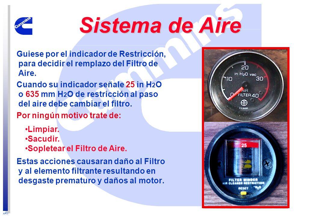 ARM Guiese por el indicador de Restricción, para decidir el remplazo del Filtro de Aire. Cuando su indicador señale 25 in H 2 O o 635 mm H 2 O de rest