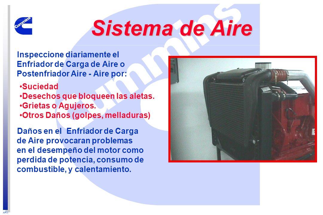 ARM Inspeccione diariamente el Enfriador de Carga de Aire o Postenfriador Aire - Aire por: Daños en el Enfriador de Carga de Aire provocaran problemas