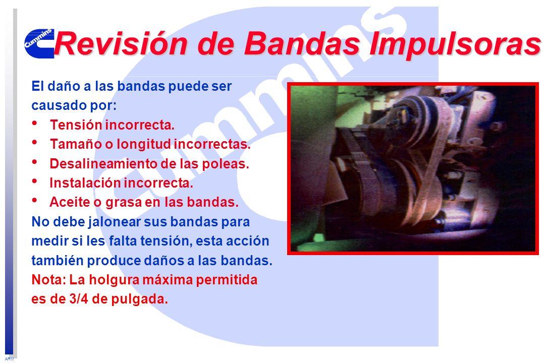 ARM El daño a las bandas puede ser causado por: Tensión incorrecta. Tamaño o longitud incorrectas. Desalineamiento de las poleas. Instalación incorrec