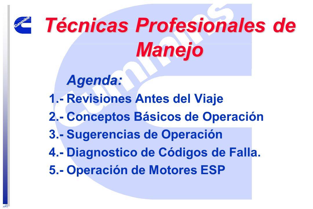 ARM Agenda: Agenda: 1.- Revisiones Antes del Viaje 2.- Conceptos Básicos de Operación 3.- Sugerencias de Operación 4.- Diagnostico de Códigos de Falla