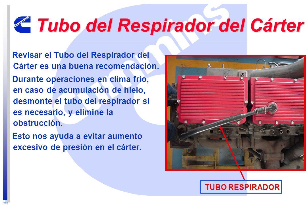 ARM Tubo del Respirador del Cárter Revisar el Tubo del Respirador del Cárter es una buena recomendación. Durante operaciones en clima frío, en caso de