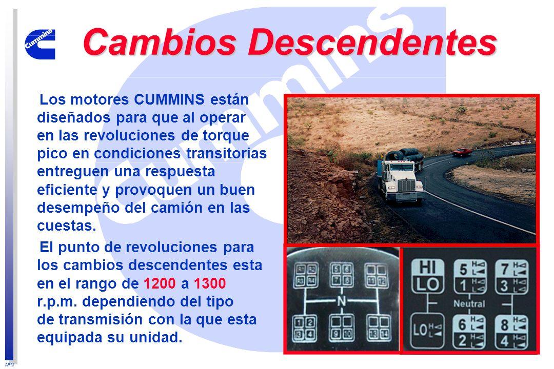 ARM Cambios Descendentes Los motores CUMMINS están diseñados para que al operar en las revoluciones de torque pico en condiciones transitorias entregu