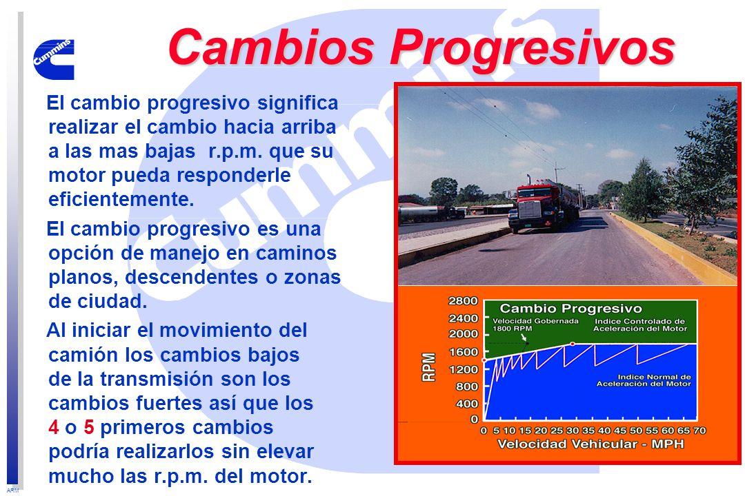 ARM Cambios Progresivos El cambio progresivo significa realizar el cambio hacia arriba a las mas bajas r.p.m. que su motor pueda responderle eficiente