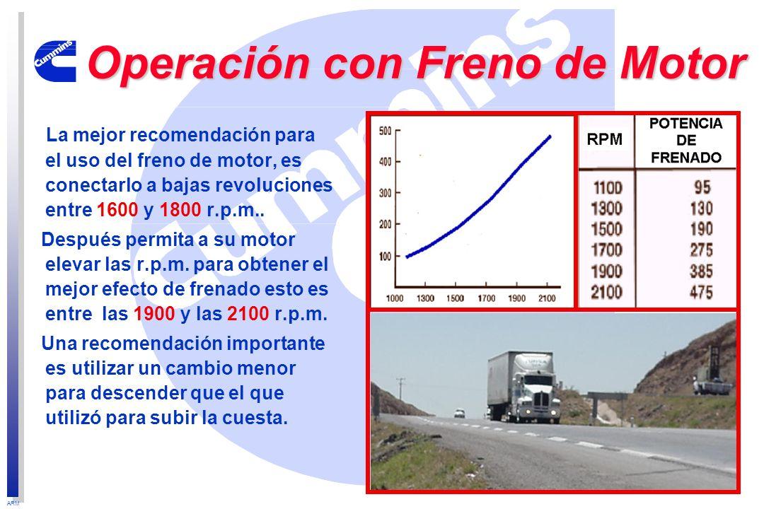 ARM La mejor recomendación para el uso del freno de motor, es conectarlo a bajas revoluciones entre 1600 y 1800 r.p.m.. Después permita a su motor ele