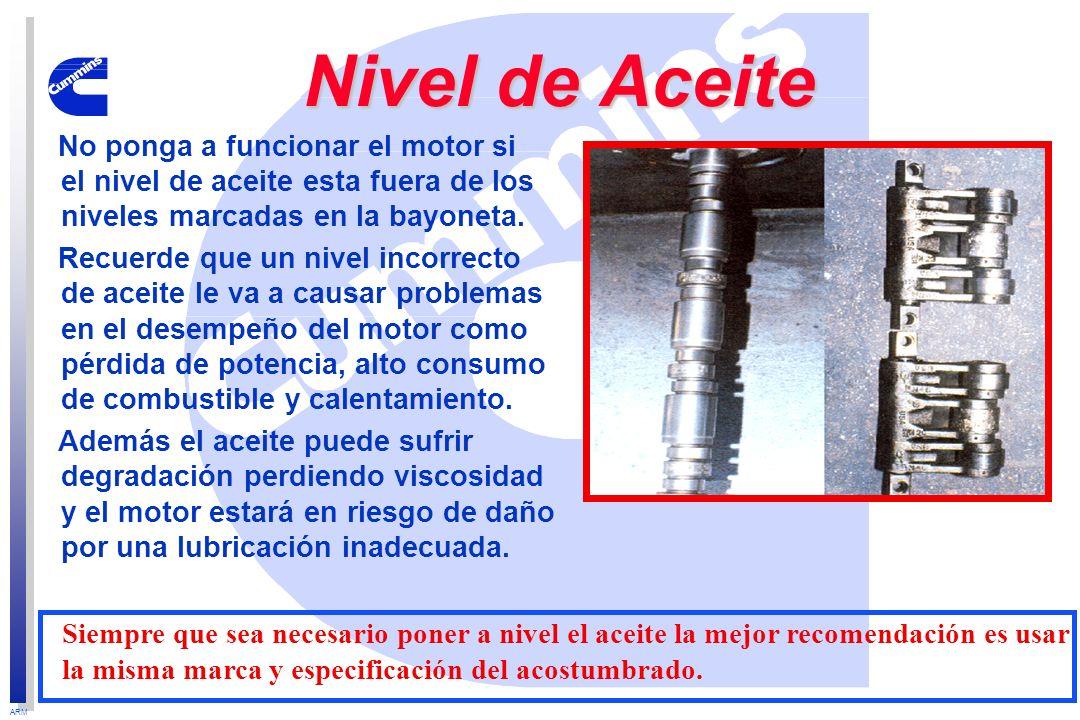ARM No ponga a funcionar el motor si el nivel de aceite esta fuera de los niveles marcadas en la bayoneta. Recuerde que un nivel incorrecto de aceite