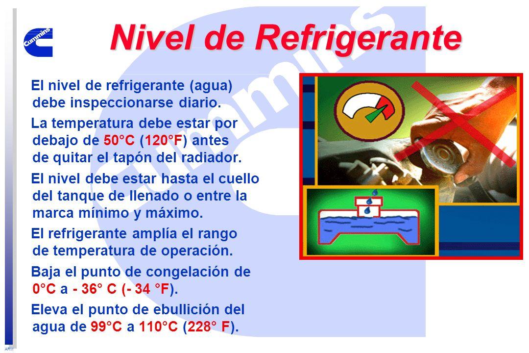 ARM Nivel de Refrigerante El nivel de refrigerante (agua) debe inspeccionarse diario. La temperatura debe estar por debajo de 50°C (120°F) antes de qu