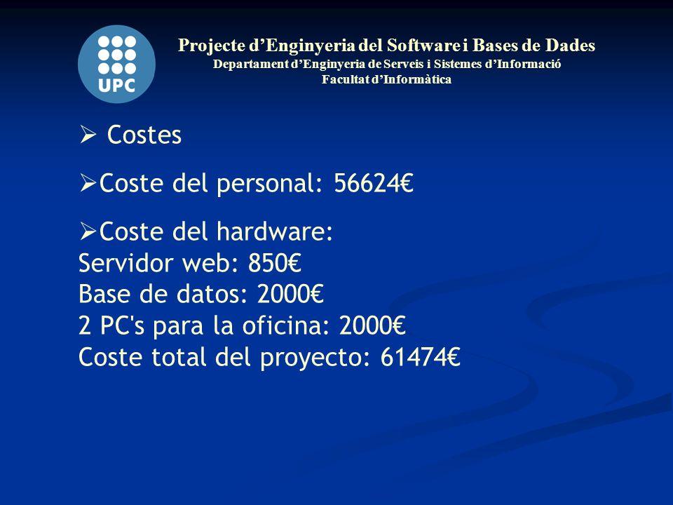 Projecte dEnginyeria del Software i Bases de Dades Departament dEnginyeria de Serveis i Sistemes dInformació Facultat dInformàtica Costes Coste del personal: 56624 Coste del hardware: Servidor web: 850 Base de datos: 2000 2 PC s para la oficina: 2000 Coste total del proyecto: 61474