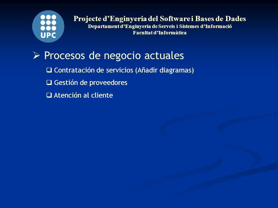 Projecte dEnginyeria del Software i Bases de Dades Departament dEnginyeria de Serveis i Sistemes dInformació Facultat dInformàtica Procesos de negocio actuales Contratación de servicios (Añadir diagramas) Gestión de proveedores Atención al cliente