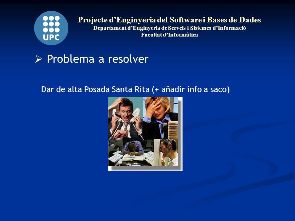Projecte dEnginyeria del Software i Bases de Dades Departament dEnginyeria de Serveis i Sistemes dInformació Facultat dInformàtica Problema a resolver Dar de alta Posada Santa Rita (+ añadir info a saco)