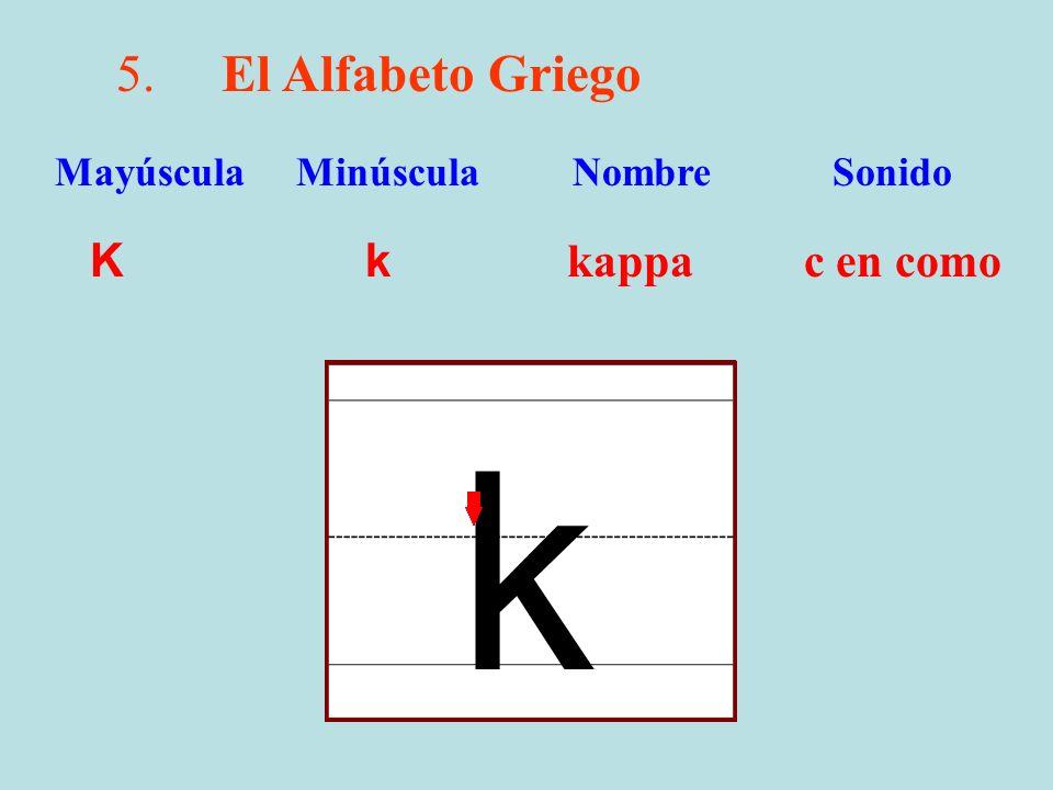 5.El Alfabeto Griego K k kappa c en como Mayúscula Minúscula Nombre Sonido k