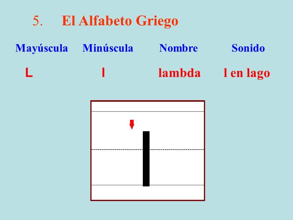 5.El Alfabeto Griego L l lambda l en lago Mayúscula Minúscula Nombre Sonido l