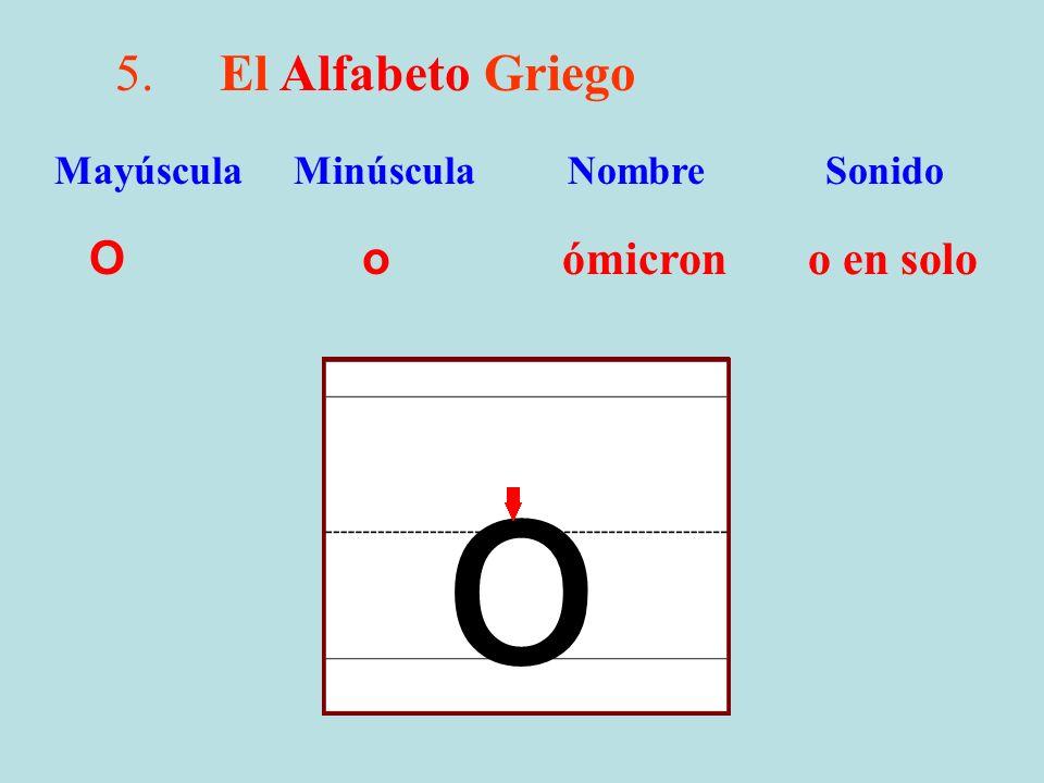 5.El Alfabeto Griego O o ómicron o en solo Mayúscula Minúscula Nombre Sonido o