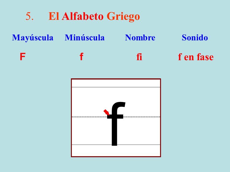5.El Alfabeto Griego F f fi f en fase Mayúscula Minúscula Nombre Sonido f