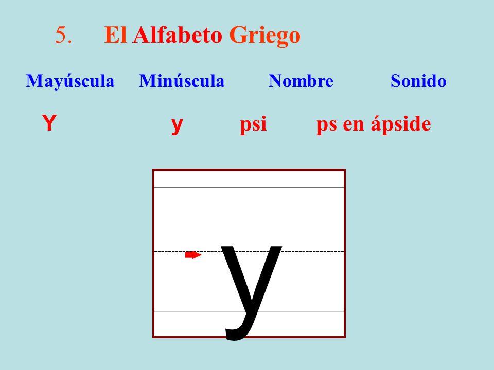 5.El Alfabeto Griego Y y psi ps en ápside Mayúscula Minúscula Nombre Sonido y