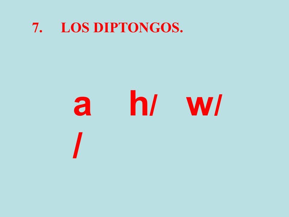 7.LOS DIPTONGOS. a/a/ h/h/ w/w/