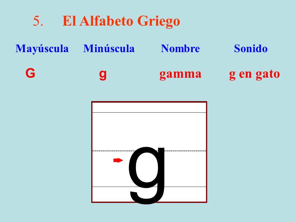 5.El Alfabeto Griego G g gamma g en gato Mayúscula Minúscula Nombre Sonido g