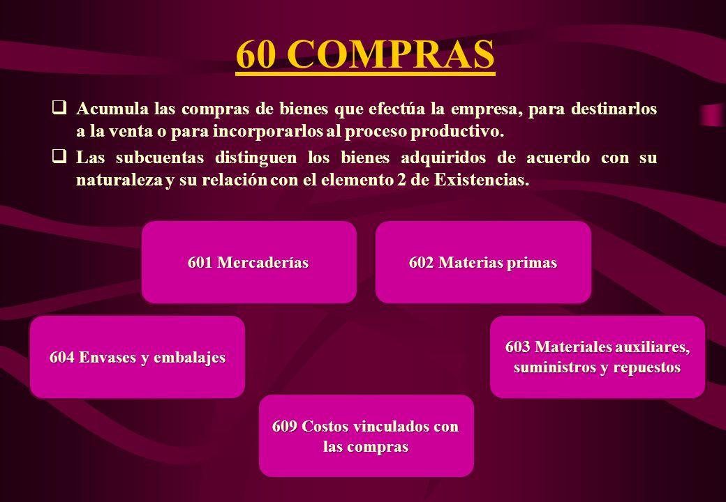 ELEMENTO 6: GASTOS POR NATURALEZA Agrupa las cuentas de la 60 hasta la 69. Comprende las cuentas de gestión clasificadas por su naturaleza económica,
