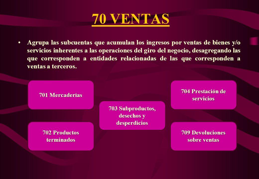 ELEMENTO 7: INGRESOS Agrupa las cuentas de la 70 hasta la 79. Comprende las cuentas de gestión de ingresos por la explotación de la actividad económic