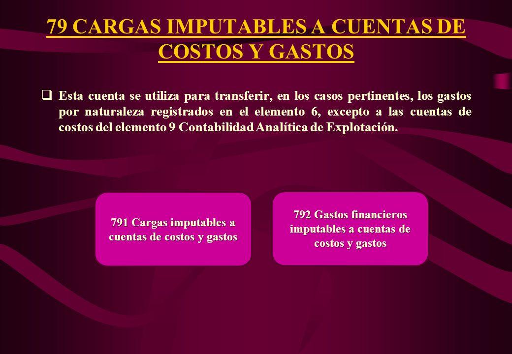 Esta cuenta se utiliza para transferir los gastos incurridos en el período para cubrir las provisiones reconocidas en la cuenta 68. 78 CARGAS CUBIERTA