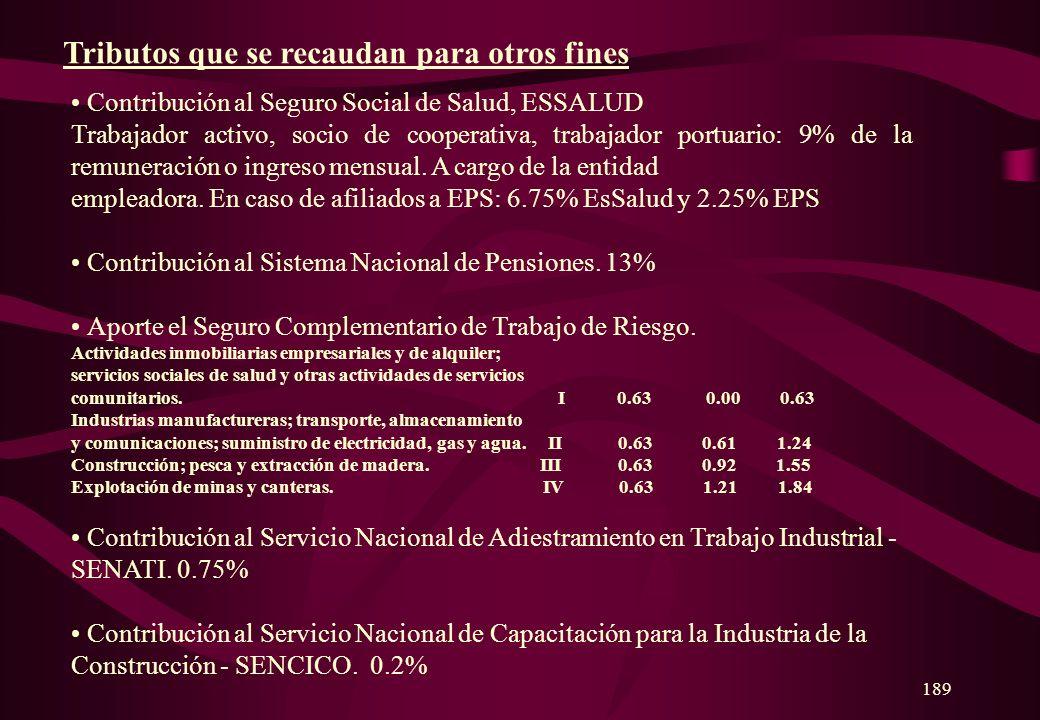 188 Impuesto a la Renta Impuesto General a las Ventas Impuesto Selectivo al Consumo Derechos Arancelarios Tasas por Prestación de Servicios Públicos T