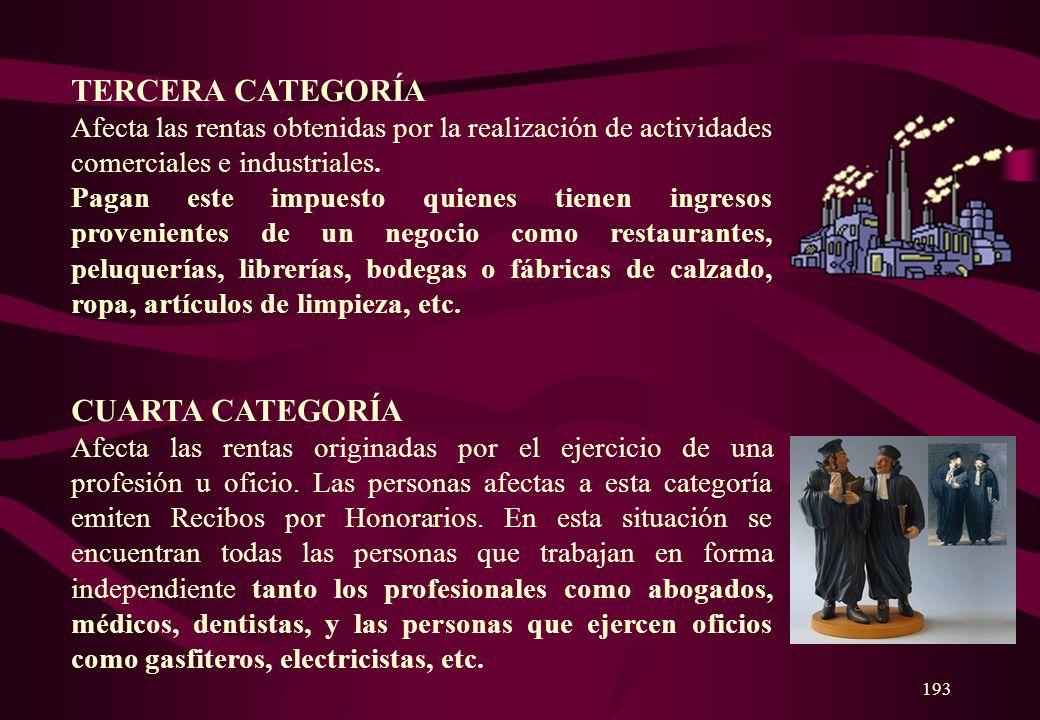 192 PRIMERA CATEGORÍA Afecta las rentas reales o estimadas de todo predio, sea urbano o rústico. Por ejemplo, si alquilas una casa o un departamento,