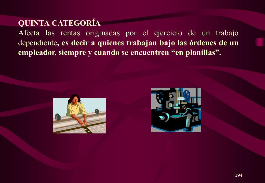 193 TERCERA CATEGORÍA Afecta las rentas obtenidas por la realización de actividades comerciales e industriales. Pagan este impuesto quienes tienen ing