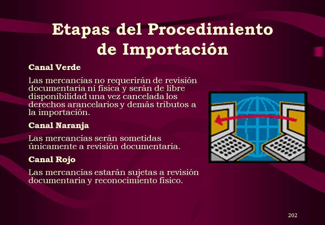201 Etapas del Procedimiento de Importación 1. Transmisión electrónica El agente de aduanas transmitirá electrónicamente la información de la DUA de i