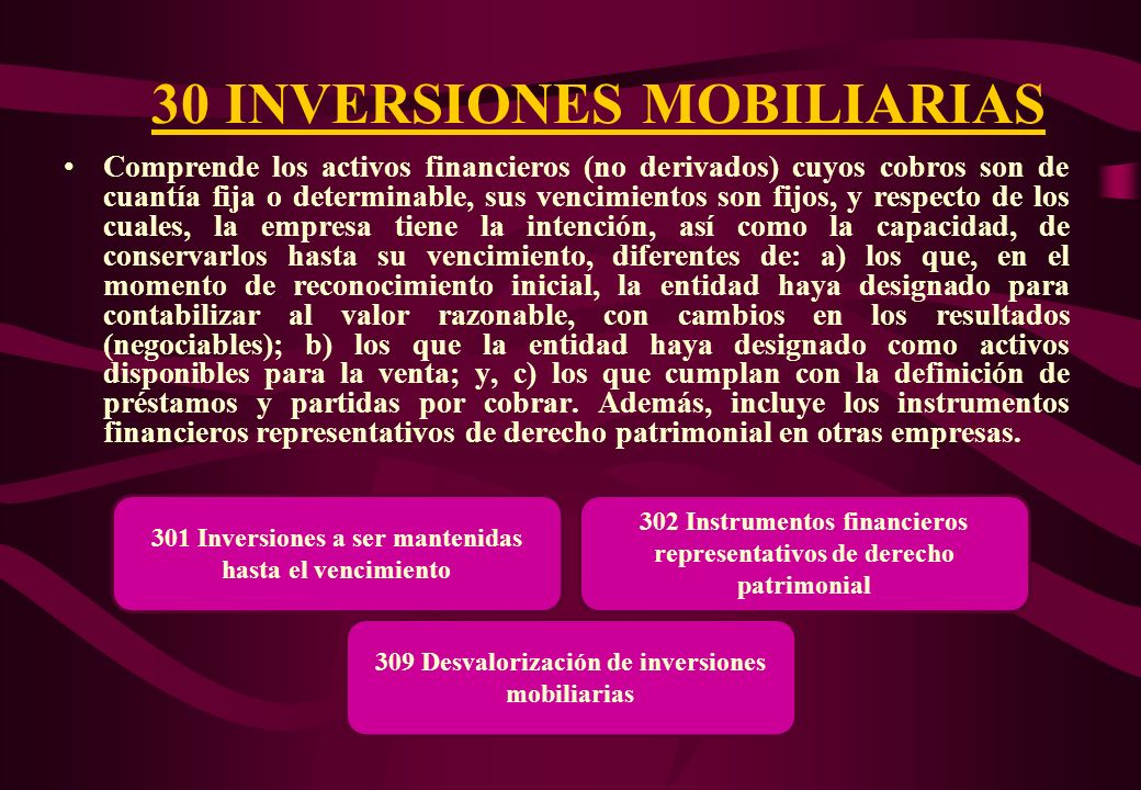 ELEMENTO 3: ACTIVO INMOVILIZADO Incluye las cuentas de la 30 hasta la 39. Comprende: las inversiones mobiliarias e inmobiliarias; los inmuebles, maqui