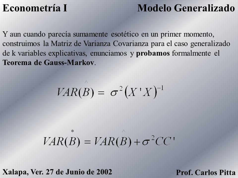 Econometric ViewsEconometría I Prof. Carlos Pitta Xalapa, Ver. 27 de Junio de 2002 Para ello, en una parte del curso nos vimos en la necesidad de cono