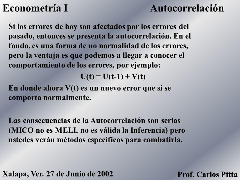 HeterocedasticidadEconometría I Prof. Carlos Pitta Xalapa, Ver. 27 de Junio de 2002 Prof. Carlos Pitta Si los errores no se comportan normalmente, es