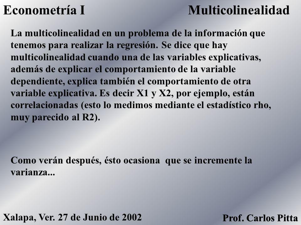 AutocorrelaciónEconometría I Prof. Carlos Pitta Xalapa, Ver. 27 de Junio de 2002 Prof. Carlos Pitta Si los errores de hoy son afectados por los errore