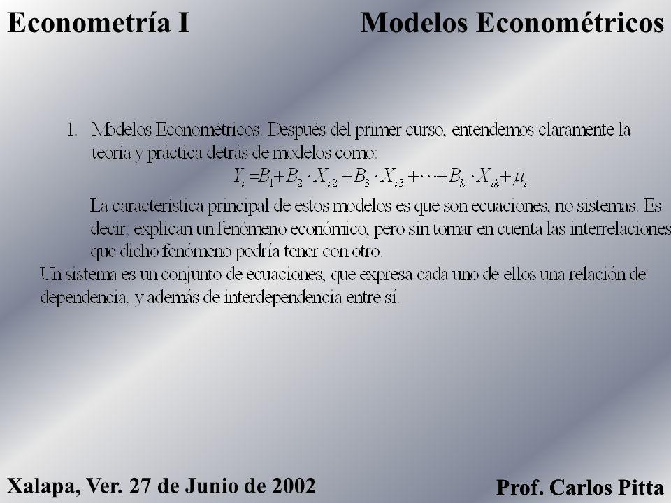 MulticolinealidadEconometría I Prof. Carlos Pitta Xalapa, Ver. 27 de Junio de 2002 Prof. Carlos Pitta La multicolinealidad en un problema de la inform