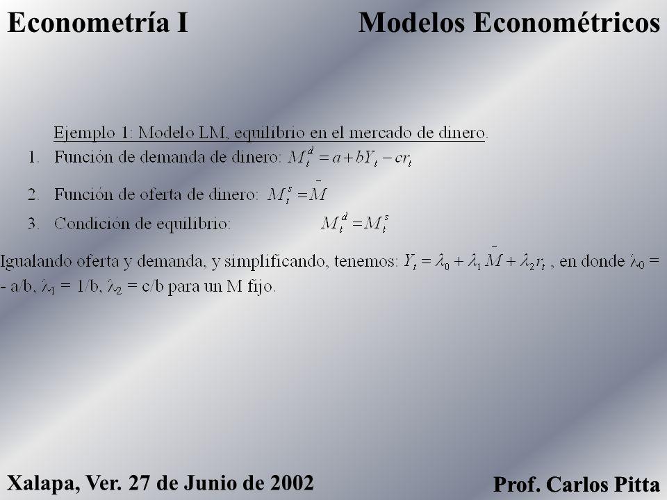 Modelos EconométricosEconometría I Prof. Carlos Pitta Xalapa, Ver. 27 de Junio de 2002 Prof. Carlos Pitta