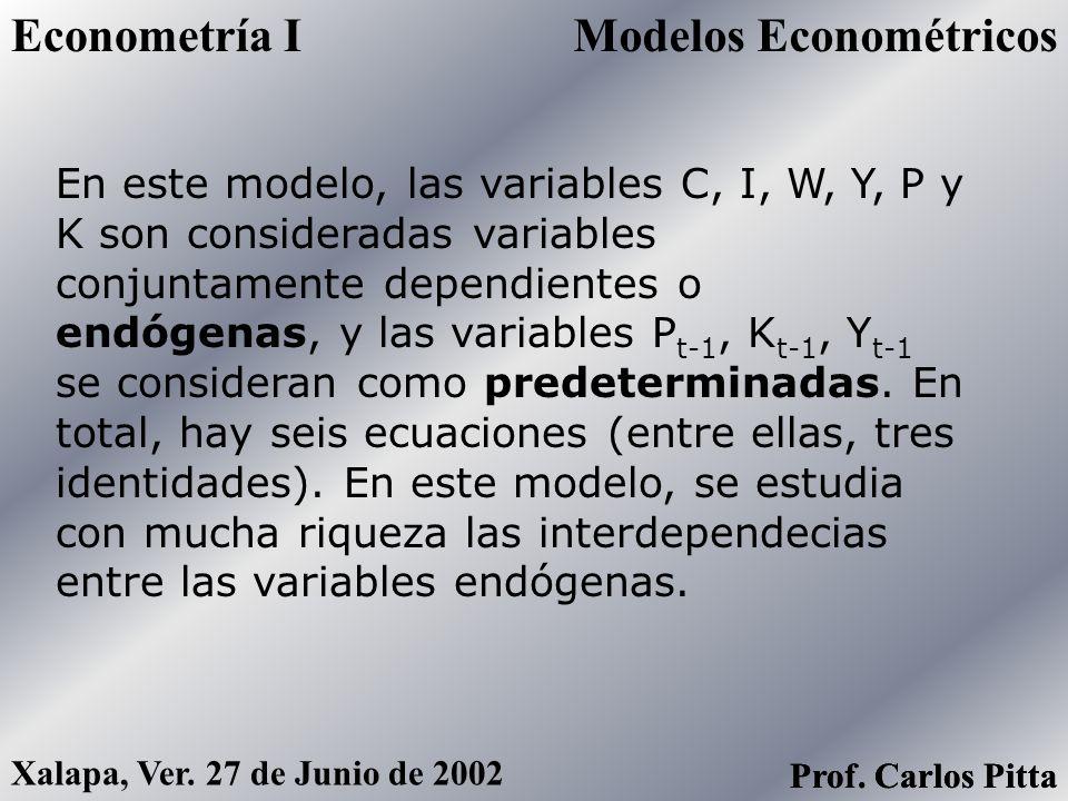 Modelos EconométricosEconometría I Prof. Carlos Pitta Xalapa, Ver. 27 de Junio de 2002 Prof. Carlos Pitta En donde: C = Consumo I = Inversión G = Gast