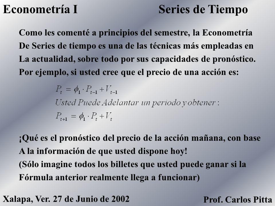 Modelos EconométricosEconometría I Prof. Carlos Pitta Xalapa, Ver. 27 de Junio de 2002 Prof. Carlos Pitta En este modelo, las variables C, I, W, Y, P