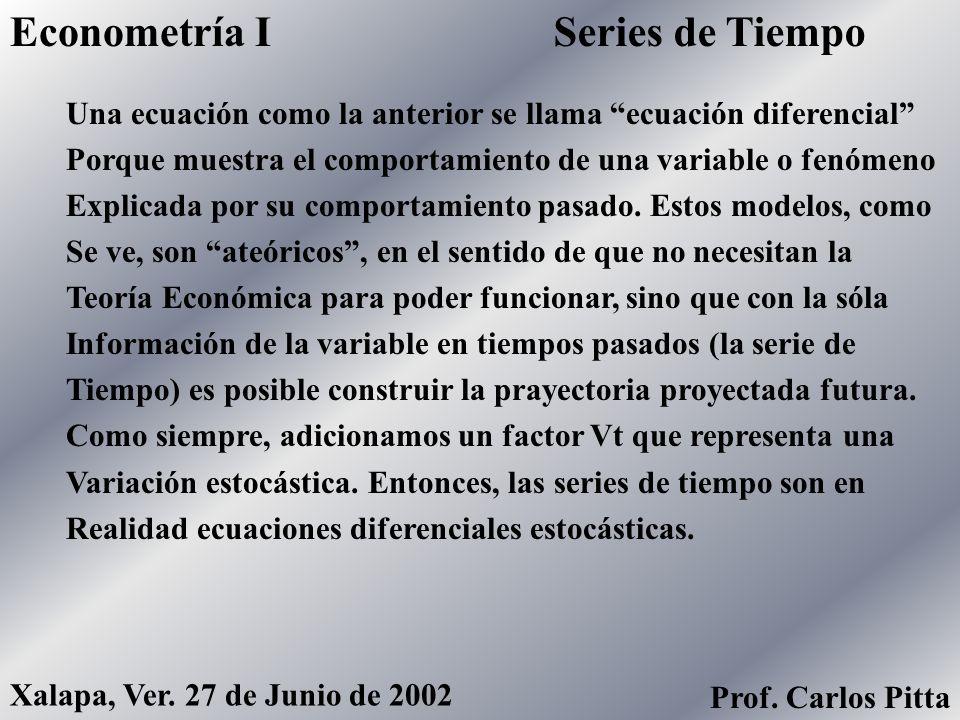 Series de TiempoEconometría I Prof. Carlos Pitta Xalapa, Ver. 27 de Junio de 2002 Como les comenté a principios del semestre, la Econometría De Series