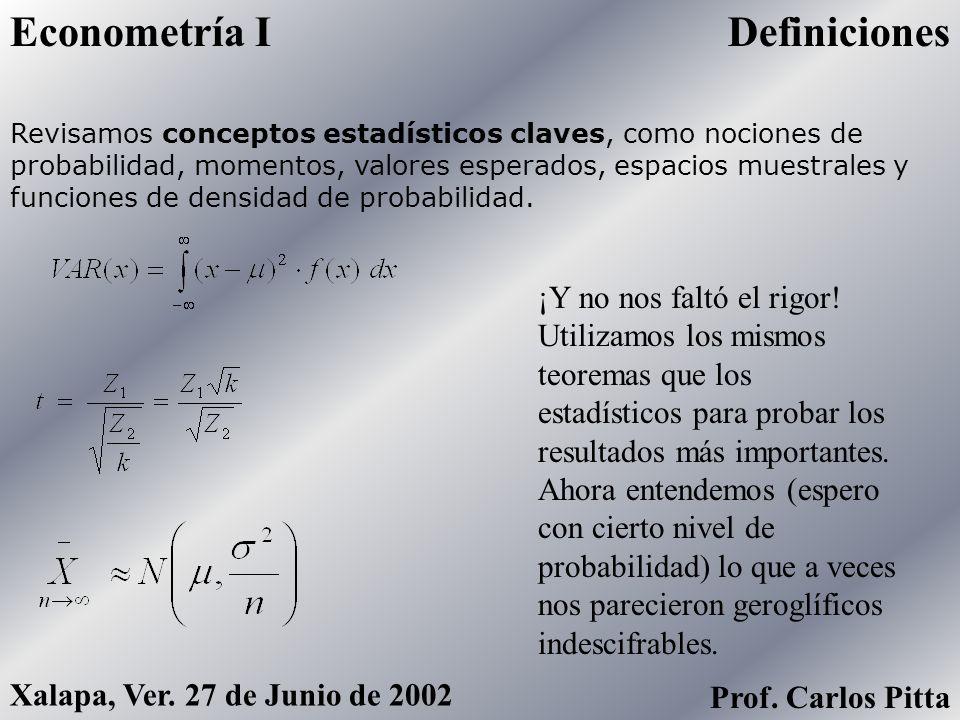 Econometría I Prof. Carlos Pitta Xalapa, Ver. 27 de Junio de 2002 Clase Final ¿Recuerdan? El Objetivo Primordial de la Economatría es encontrar la Fun