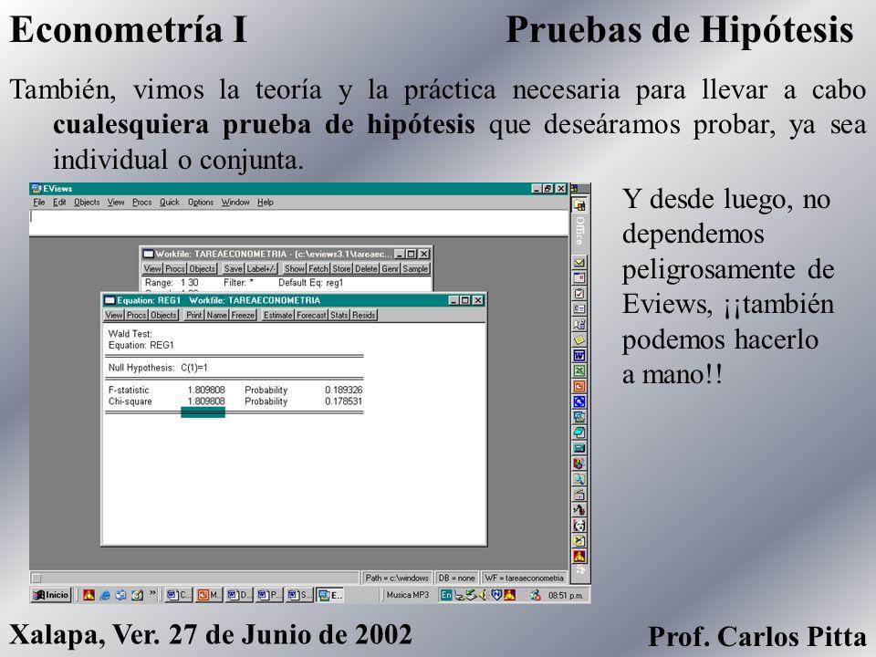 CálculoEconometría I Prof. Carlos Pitta Xalapa, Ver. 27 de Junio de 2002 Revisamos con gran detalle el problema fundamental del análisis de regresión: