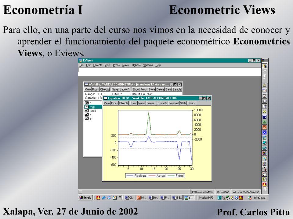 Pruebas de HipótesisEconometría I Prof. Carlos Pitta Xalapa, Ver. 27 de Junio de 2002 También, vimos la teoría y la práctica necesaria para llevar a c