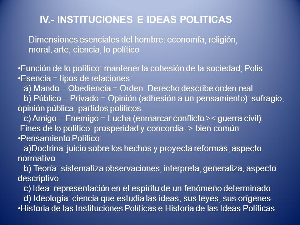 Función de lo político: mantener la cohesión de la sociedad; Polis Esencia = tipos de relaciones: a) Mando – Obediencia = Orden. Derecho describe orde