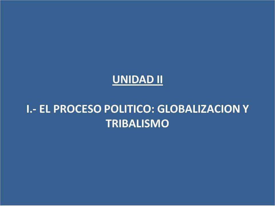 UNIDAD II I.- EL PROCESO POLITICO: GLOBALIZACION Y TRIBALISMO