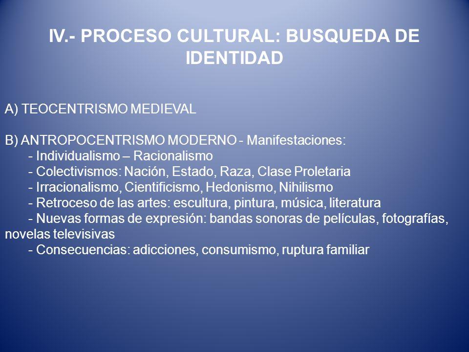 A) TEOCENTRISMO MEDIEVAL B) ANTROPOCENTRISMO MODERNO - Manifestaciones: - Individualismo – Racionalismo - Colectivismos: Nación, Estado, Raza, Clase P