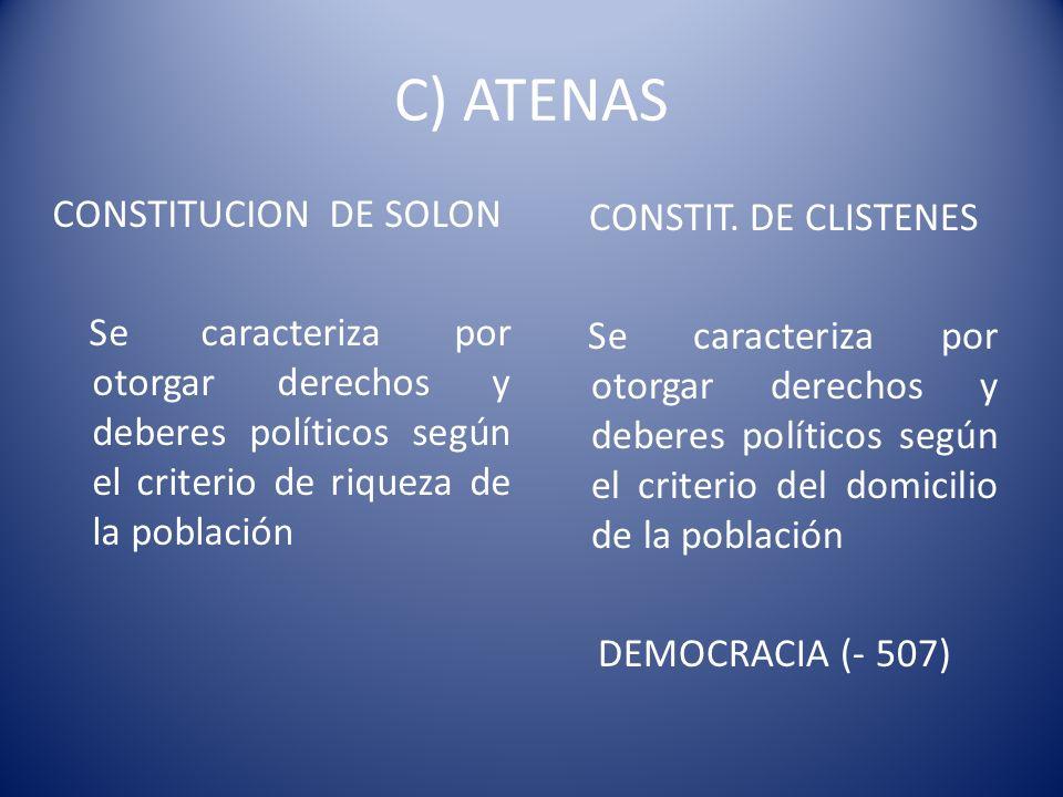 C) ATENAS CONSTITUCION DE SOLON Se caracteriza por otorgar derechos y deberes políticos según el criterio de riqueza de la población CONSTIT. DE CLIST