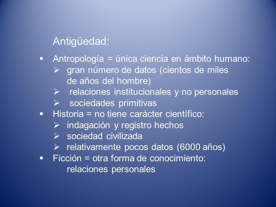 Antigüedad: Antropología = única ciencia en ámbito humano: gran número de datos (cientos de miles de años del hombre) relaciones institucionales y no
