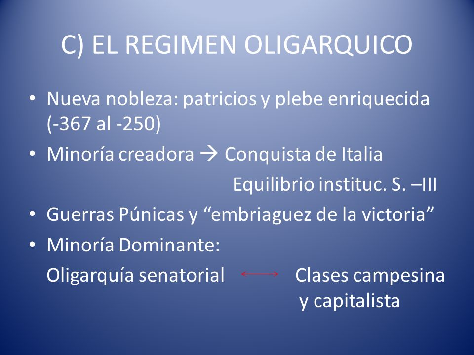 C) EL REGIMEN OLIGARQUICO Nueva nobleza: patricios y plebe enriquecida (-367 al -250) Minoría creadora Conquista de Italia Equilibrio instituc. S. –II