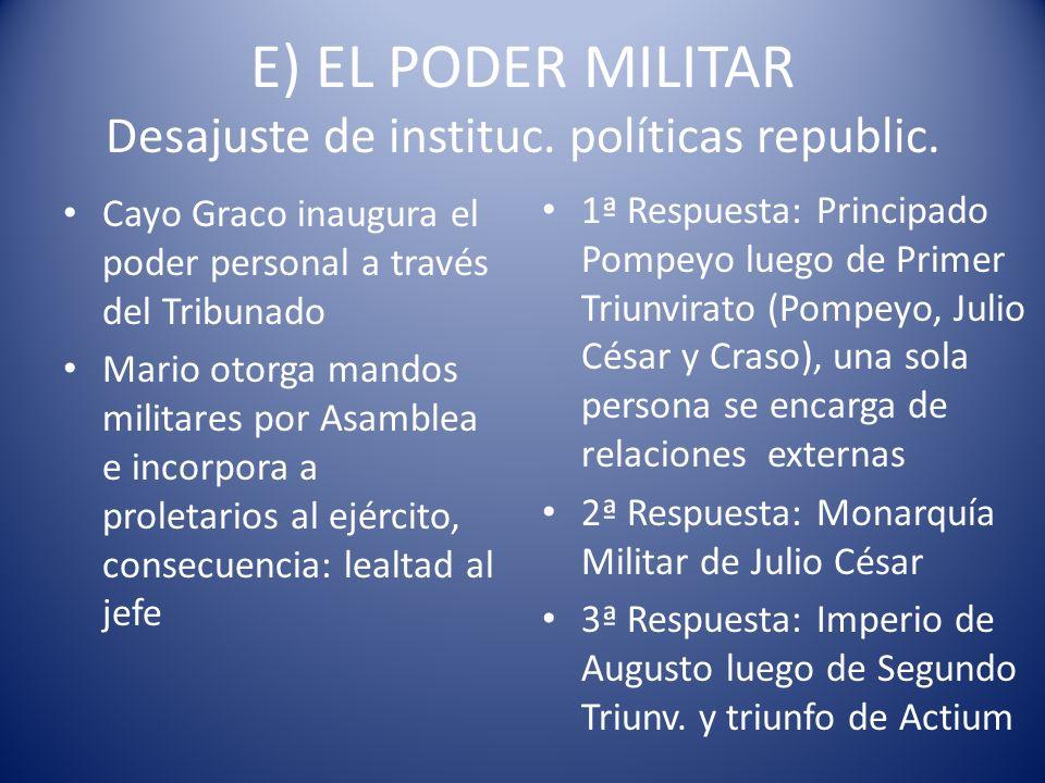 E) EL PODER MILITAR Desajuste de instituc. políticas republic. Cayo Graco inaugura el poder personal a través del Tribunado Mario otorga mandos milita