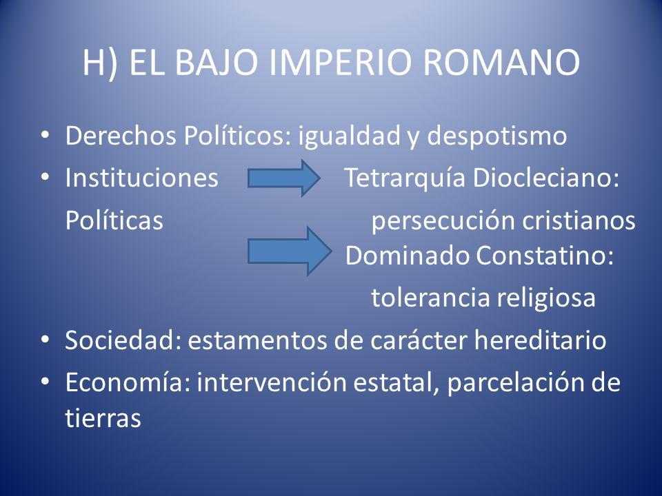 H) EL BAJO IMPERIO ROMANO Derechos Políticos: igualdad y despotismo Instituciones Tetrarquía Diocleciano: Políticas persecución cristianos Dominado Co