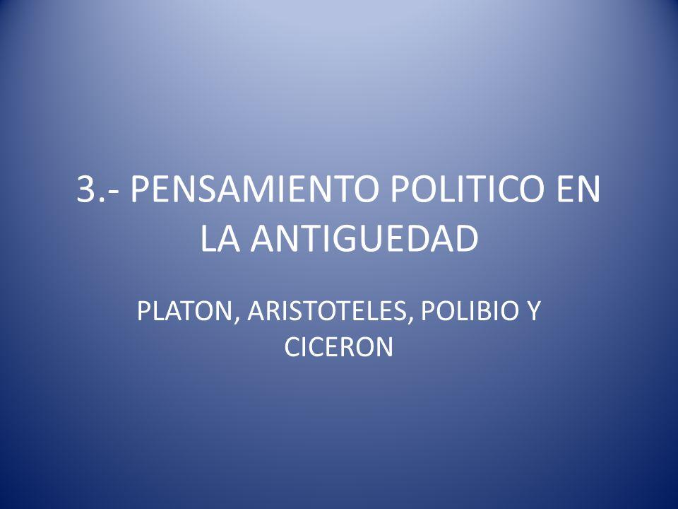 3.- PENSAMIENTO POLITICO EN LA ANTIGUEDAD PLATON, ARISTOTELES, POLIBIO Y CICERON