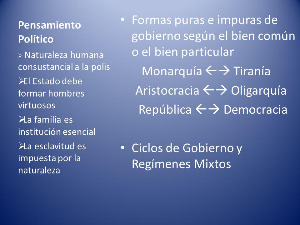 Pensamiento Político Formas puras e impuras de gobierno según el bien común o el bien particular Monarquía Tiranía Aristocracia Oligarquía República D